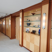 Dressing Room with closets and entryway doors, built-in: glass, natural anigre a