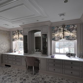 """Dressing Room, built-in: lacquer with antiqued """"strike in"""" effect."""