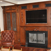 TV Cabinet with Fireplace Surround and Bar, built-in: granite, stained glass, st
