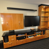 Media Unit with Bar, built-in: natural ropey cherry with high gloss, hand rubbed