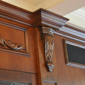Media Unit (detail), built-in: stained cherry with carved accent.