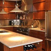 Kitchen, built-in: granite, stained ribbon stripe mahogany and mahogany.