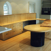 Desk, built-in: Natural Maple with black lacquer and granite.